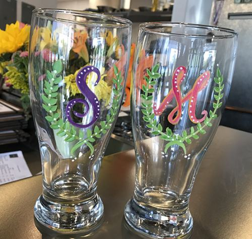 Personal Monograms - Beer Glass Painting