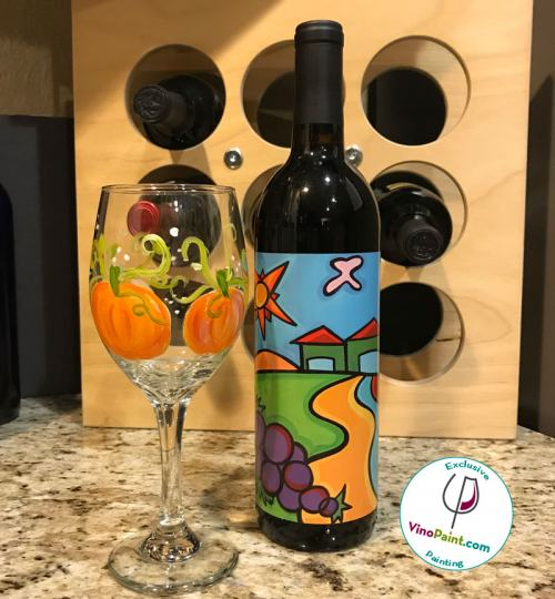 Pumpkin Harvest Wine Glass Painting