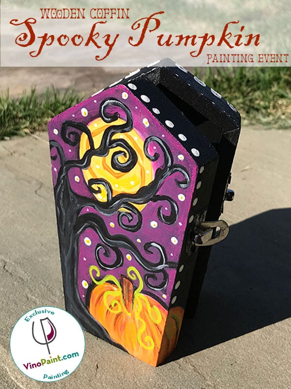 VinoPaint Exclusive - Spooky Pumpkin Coffin Painting