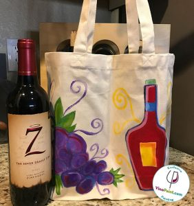 VinoPaint Exclusive - Wine Tote with Grapes & Bottle