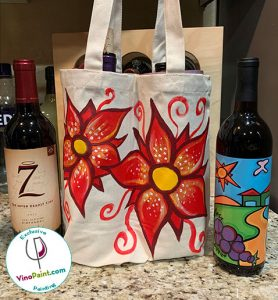 VinoPaint Exclusive - Poinsettia Wine Tote