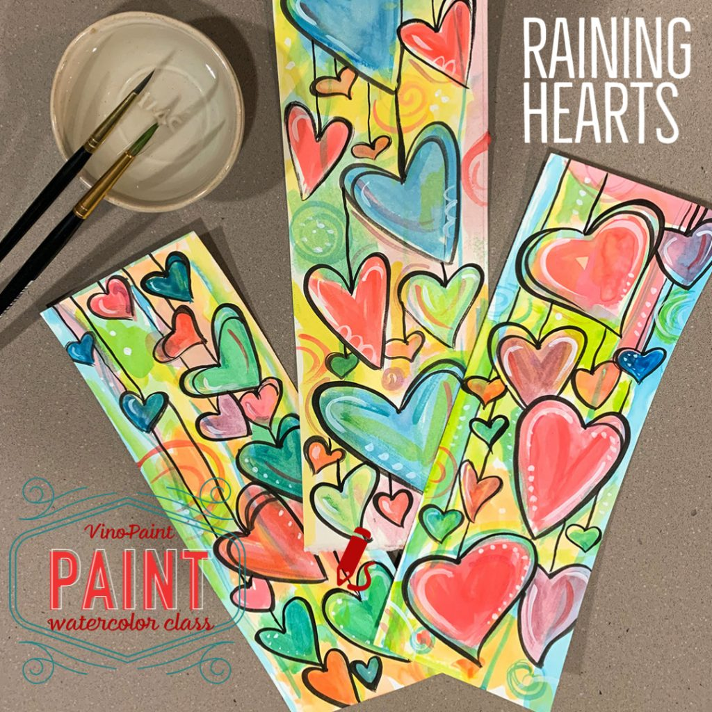 VinoPaint Exclusive - Raining Hearts Watercolor Workshop