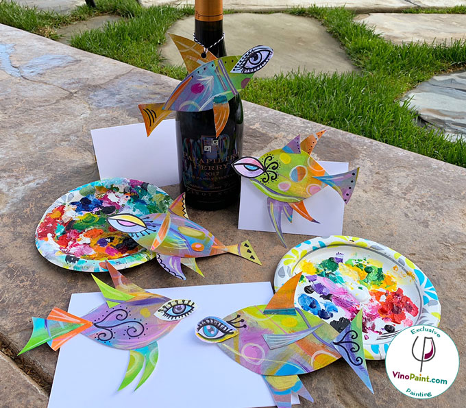 VinoPaint Virtual Creative Events - Sassy Fishes
