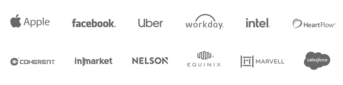 Some of our Happy VinoPaint Clients, Facebook, Salesforce, Apple Computer, Uber, Workday, Intel, HeartFlow, InMarket, Nelson Worldwide, Coherent, Equinix, Marvell, Lupus Foundation of Northern California
